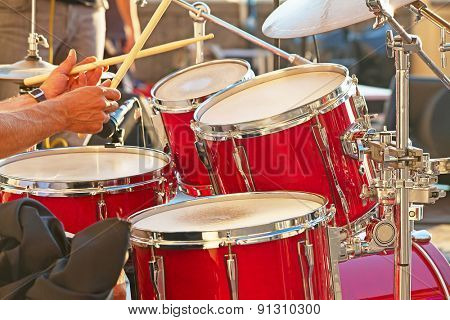 Set of drums on the open air concert