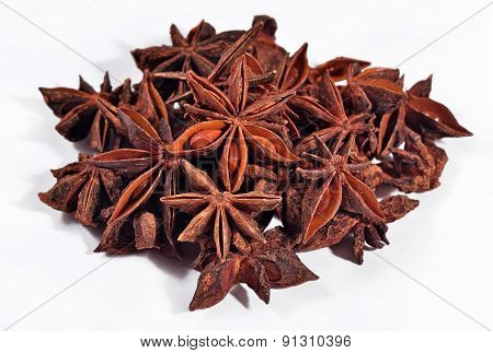 Heap Of Star Anise On A White