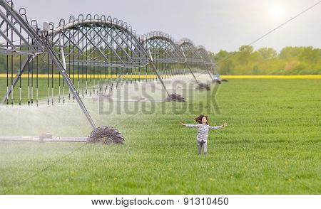 Girl Running On Field