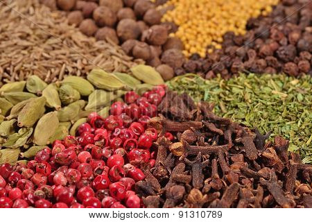 Heap Of Various Kinds Of Spices