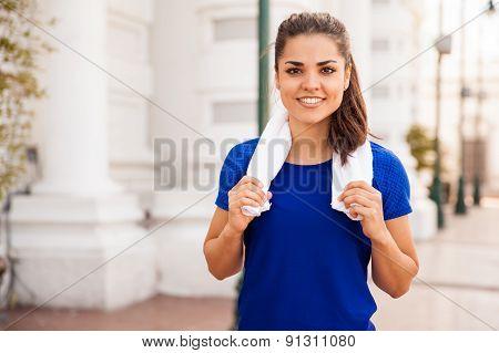 Hispanic Runner Taking A Break