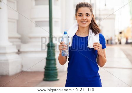 Pretty Runner Drinking Water