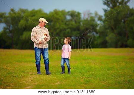 Grandfather And Grandson Walking Through The Green Field, With Puppy In Hands