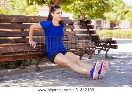 Tricep Dips On A Park Bench