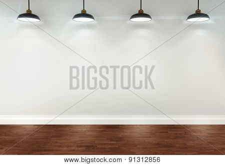 3D Blank White Room With Ceiling Lamps