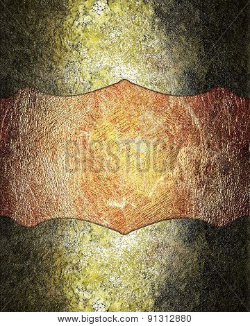 Grunge Nameplate For Design On Grunge Red Background. Design Template
