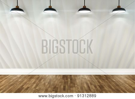 3D Room With Ceiling Lamps