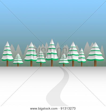 winter background vector landscape with forest