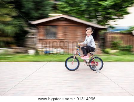 Child Ride Fast On Bike With Casters
