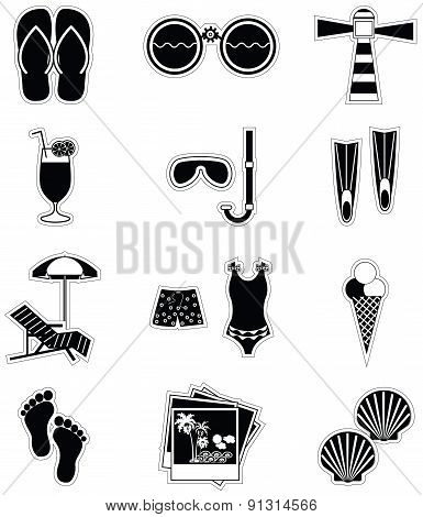 Summer And  Holidays Attributes In Black Stickers Style