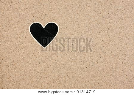 Pointer, Ads Board In The Form Heart  In The Sand