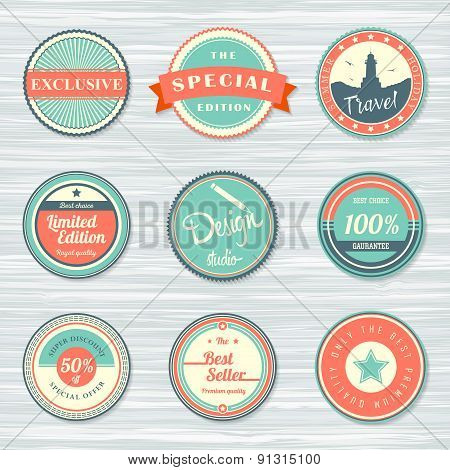Vintage labels set: exclusive, travel and best seller, discount