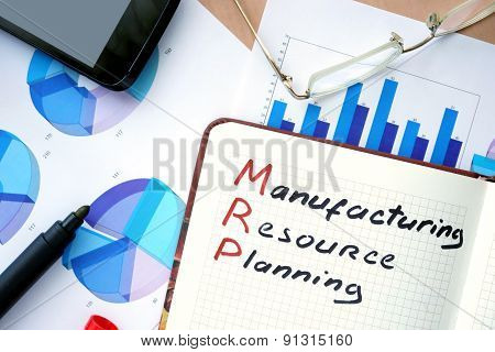 Notepad with word MRP manufacturing resource planning concept.