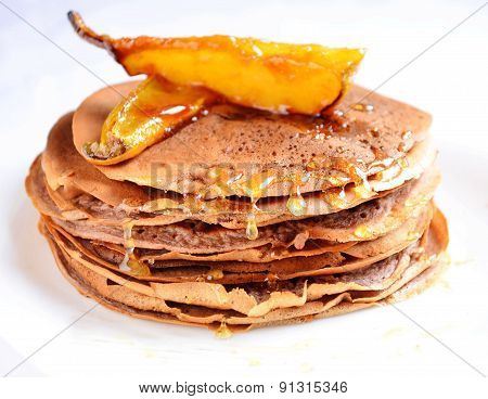 Pancakes with caramelized pears