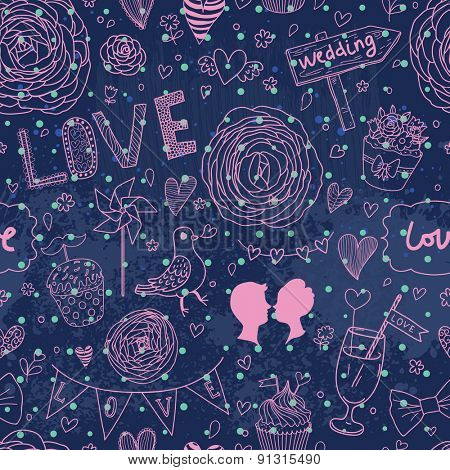 Lovely background with flowers and a lot of romantic symbols. Seamless pattern can be used for wallpapers, pattern fills, web page backgrounds, surface textures. Gorgeous seamless romantic background