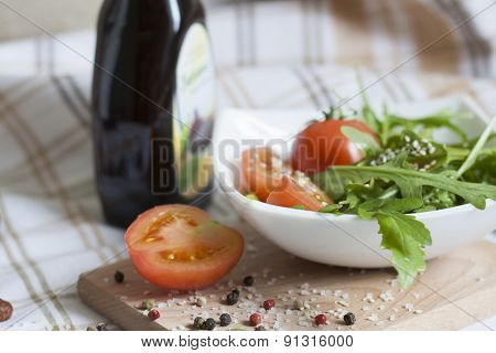 Tomatoes and arugula