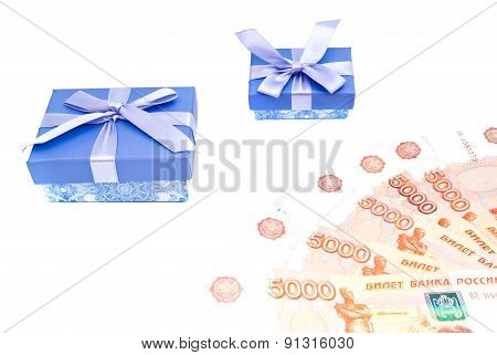 Blue Gift Boxes And Money