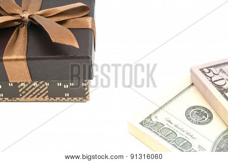 Brown Gift Box And Money On White