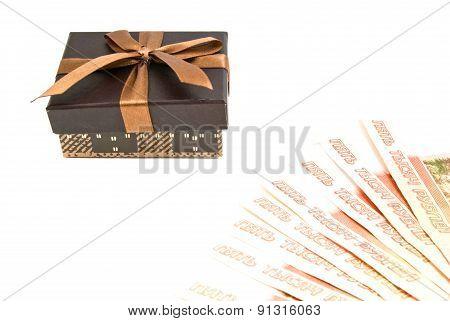 Brown Gift Box And Banknotes