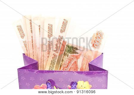 Colorful Gift Bag With Banknotes