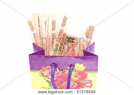 Colorful Gift Bag With Money Closeup