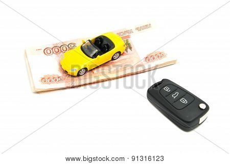 Banknotes, Keys And Yellow Car