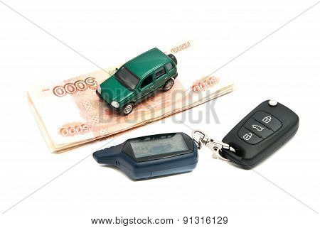 Russian Banknotes, Car Keys And Green Car