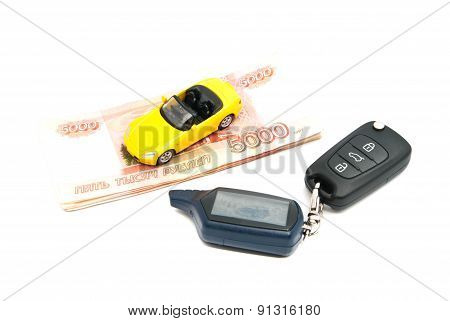 Yellow Car, Keys And Russian Banknotes