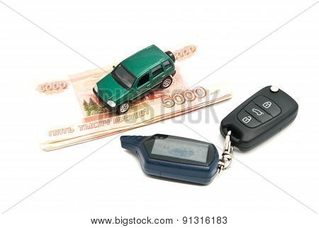 Green Car, Keys And Banknotes