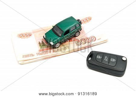 Green Car, Keys And Russian Banknotes