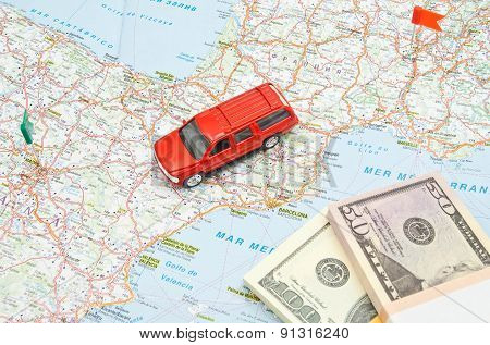 Red Car And Notes On Map