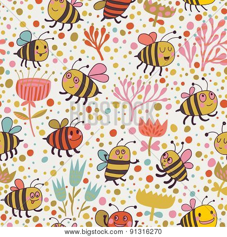 Bright spring seamless pattern - lovely lees and flowers. Seamless pattern can be used for wallpaper, pattern fills, web page backgrounds, surface textures. Gorgeous seamless floral background