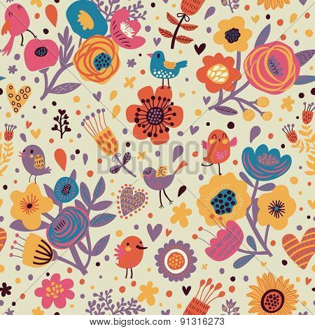 Vintage floral seamless pattern with birds and poppy flowers. Romantic background in vector can be used for wallpaper, web page backgrounds, surface textures. Gorgeous seamless floral background