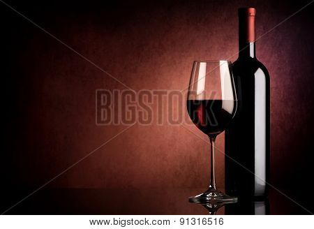 Wine on vinous background