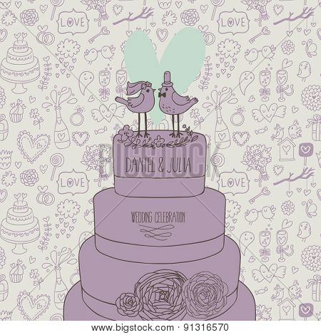 Sweet wedding invitation. Romantic birds on the cake. Save the date concept illustration. Sentimental vector card