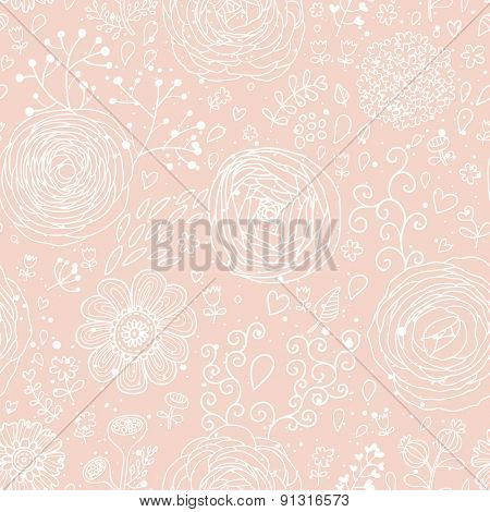 Stylish floral seamless pattern in pink. Lovely ranunculus flowers. Seamless pattern can be used for wallpaper, pattern fills, web backgrounds, surface textures. Gorgeous seamless floral background