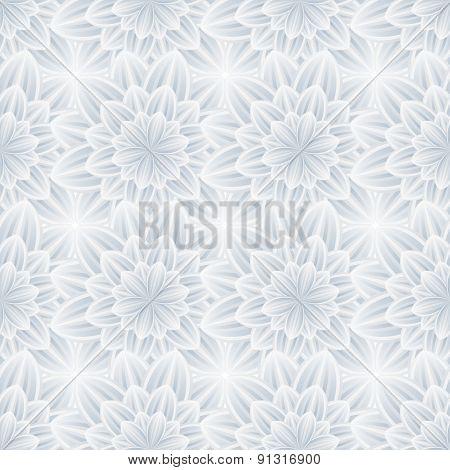 Seamless Pattern With Grey Ornate Flower Chrysanthemum