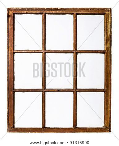 panel of vintage, grunge, sash window with dirty glass (9 panes), isolated on white with a clipping path