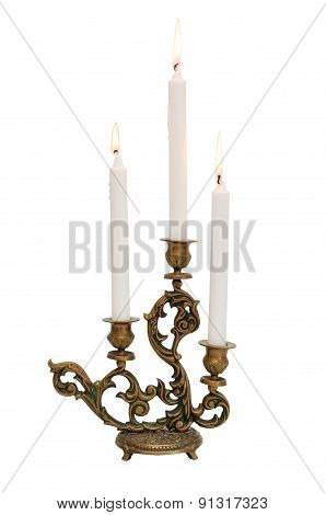 Antique Candelabra With Three Melting Candles Isolated On White Background