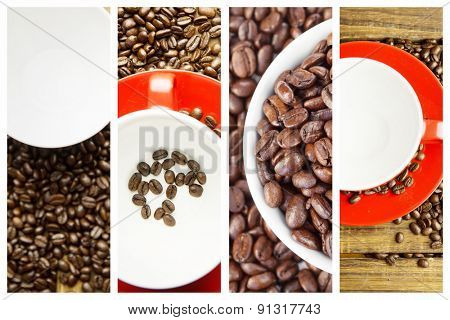 coffee beans and mugs against coffee beans in cup