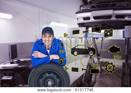 Handsome mechanic leaning on tire against auto repair shop