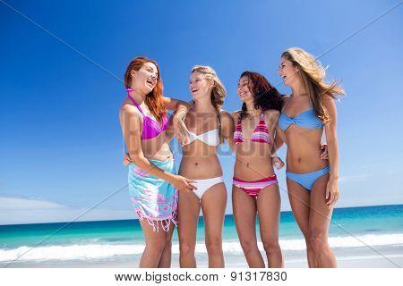 Happy friend having fun at the beach