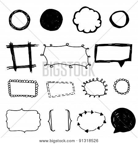 Set of 6 doodle frames, free hand drawn  vector illustration.