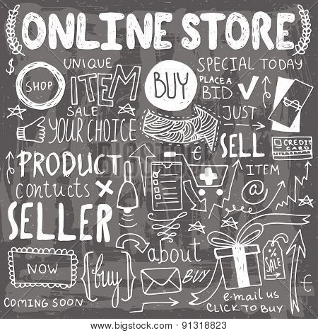 Online shopping hand drawn doodles.