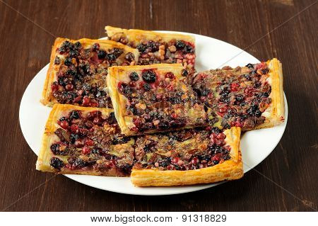 Berry Pie With Puff Pastry Cut In Square Pieces
