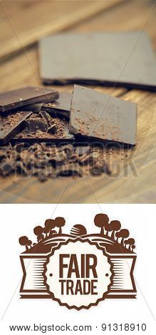 Fair Trade graphic against chocolate bar