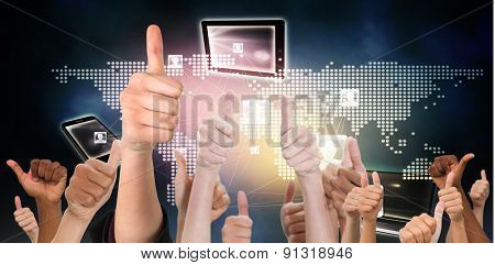 Hands showing thumbs up against global connection background