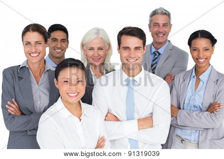 Business people looking at camera with arms crossed on white background