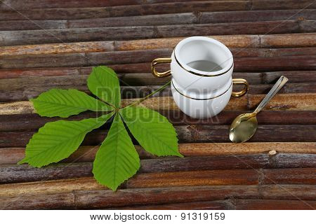 Cup, Spoon, Chestnut Leaves