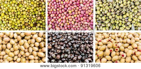 Photo Collage Of Different Olives
